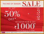 Mark & Spencers End of Season Sale - Flat 50 % Off + Get 3 For 2 on all Sale Items + Additional 10% Cashback Via Axis Bank Cards