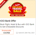 Feb-ulous Travel Sale on EMT - Flat 12% off on Flights, 25% off on Hotels and 15% off on Buses on Easemytrip for ICICI Bank credit and debit card holders