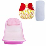Sunbaby Combo Anti-Slip Net Baby Bather, Bath Seat for Bathing + Free Insert, Newborn boy & Girl, Toddler, Kids