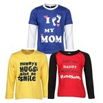 GOODWAY Boy's Cotton Full Sleeves Colors T-Shirts Mom & Dad Theme-2 (Multicolors) - Pack of 3