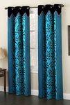 Homefab India Polyester Eyelet 8 ft Long Door Curtain (Aqua Blue and Black)