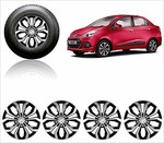 "Auto Pearl Car Full Silver Black Wheel Cover Caps 14"" Press Type Fitting for Xcent"