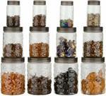 Balaji Stone Container 300 ml, 650 ml, 1200 ml Plastic Fridge Container, Grocery Container, Spice Container, Tea Coffee & Sugar Container, Utility Box (Pack of 3, Multicolor)