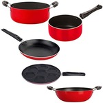 Nirlon Non-Stick Gas Compatible Superior Quality 5 Piece Cookware Combo Offer with Red and Black Color