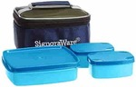 Signoraware Hot N Cute Polypropylene Lunch Box with Bag, 3-Pieces, T Blue upto 48% off starting@ ₹194