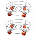 A&Y ® Stainless Steel Gas LPG Cylinder Stand Trolley with Wheels (Pack of 2)