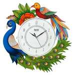 Divine Crafts Ajanta Peacock Wooden Wall Clock for Home (Multicolor) upto 69%off