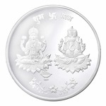 Peora 10 Gm 999 Purity Silver Coin Indian Hindu God Ganesh Goddess Laxmi Embossed for Wedding Anniversary New Home