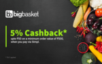 [User specific] GET 5% CASHBACK UP TO ₹50 ON YOUR NEXT BIGBASKET ORDER, WHEN PAID VIA SIMPL