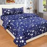 SPSON'S HANDLOOM 140 TC Polycotton Double Abstract Bedsheet  (Pack of 1, Blue)
