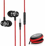 WeCool Mr.Bass W001 Snug Fit Metallic in Ear Earphone with Rich Bass and Surround Sound Earphones Wired Plus Carry Case (RED)