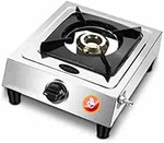 FLAMINGOLD Single Burner Gas Stoves Stainless Steel 1 LPG Cooktop Chulha Manual Ignition (24, Silver)