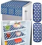 Amazon Brand - Solimo Fridge Organiser Set, (3 pcs Fridge Mat, 2 pcs Fridge Handle Cover, 1 Fridge Top Cover), Polka, Blue