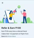 Paytm | Refer & Earn flat 100