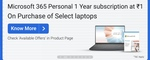 Microsoft 365 personal 1 year subscription at Rs.1 on purchase of select laptops