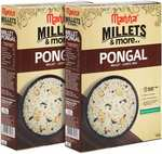 Manna Instant Millet Breakfast - Ready to Eat Pongal - 6 Servings. 100% Natural - No Preservatives/ No Artificial Colours, Flavours or additives. Made Barnyard & Little Millet - 360g (180g x 2 Packs)