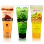 NutriGlow Face Wash Pack of 3 Gold Kesar, Neem Tulsi and Wild Turmeric.