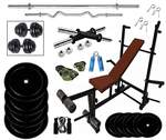 [LOOT]:  Home Gym Set, Rubber Weight Plates (60 Kg) with One 3 Ft Curl, 5 Ft Plain Rod and One Pair Dumbbell Rods with 8 in 1 Fitness Bench, Gym Accessories