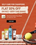 PhyLife Flat 30% Off On Face + Body Care Range   Free Acne Action Face Mask on Order Rs 799+   10-13th June