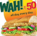 subway aloo patty sub for 55 only