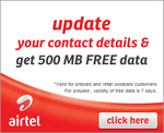 500MB 3G Data FREE For Airtel Users