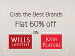 Flat 60% off on selected apparels by Wills Lifestyle & John Players