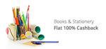 100 % on CASHBACK BOOKS & STATIONARY