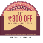 Login to use coupon and Get Rs.300 off on order above Rs.750