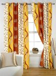 (77%) off Story@Home 5 feet Set of 2 happiness 2 Piece Geometrical Pattern Polyster Curtains Orange