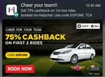 75% cashback on 1st TWO rides - Helpchat