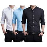 (44% off) Pack of 3 Formal Plain PC Cotton Shirts -(Blue White Black ) @ Rs.899 (MRP : Rs.1599)