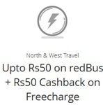Upto Rs50 on redBus + Rs50 Cashback on Freecharge