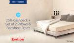 Paytm: Mattresses | Get Flat 25% Cashback + Set of 2 Pillows & Bedsheet Free