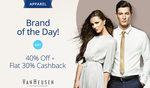 Paytm: Apparel - Brand of the Day - Van Heusen -  Get 40% Off + Flat 30% Cashback