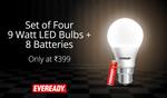 back again || Eveready 9 Watt Cool Daylight 4 Bulbs With 8 AA Batteries Free @399