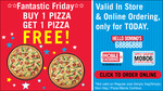Your favourite offer starts at 11am tomorrow - Buy One Pizza, Get One Free!@Dominos coupon MOB06