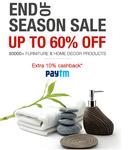 FabFurnish EOSS : Upto 60% off  50000+ Furniture & Home Decor Products  + Extra 10% cashback via paytm
