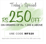 Rs.250 off on order above Rs.1000 sitewide