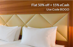 Flat 50% off + 15% eCash on Hotels