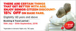 Get 15% discount on base fare for Senior Citizen