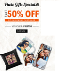 Get Flat 50% off on Photo gift special (No minimum purchases)