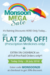 20% off on Prescription Medicines (No min. purchase required) Plus 5% extra cashback on prepaid orders