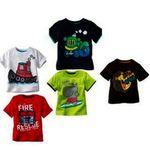 Kids Printed Round Neck Cotton T-shirt (Set Of 5)