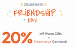 Friendship Day Special – Flat 20% off on Photo Mugs, Magnets & Collages + Extra 20% Cashback via Freecharge