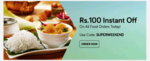Get Rs.100 off on Food Orders