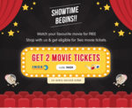 Get 2 Movie Tickets for Free on Every Second Grocery Order
