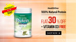 Flat 30% off on HealthViva 100% Natural Protein + Vitamin D3 Free