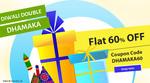 Flat 60% Discount site wide + 5% iBhejo Bucks (till 31st Oct)