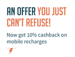 Get 10% cashback on Prepaid recharges