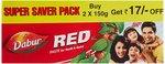 Dabur Red Tooth Paste Super Saver Pack - 300 g